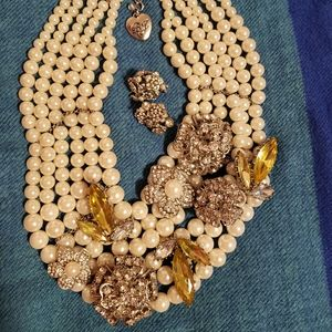 Multi-strand Betsey Johnson Pearl Necklace